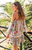 Miss June cold shoulder Dress Rose
