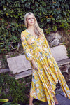 jaase Maxi Asymmetric Dress Sienna in Sunflower Print