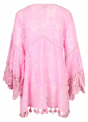 Pink Embellished Lace Dress Positano