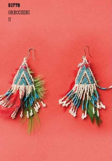 Beaded Tassel  and feather Earrings