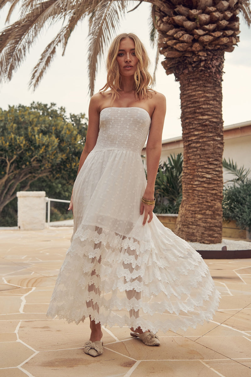 Jaase White Embroidered Lace Maxi Dress Salsa