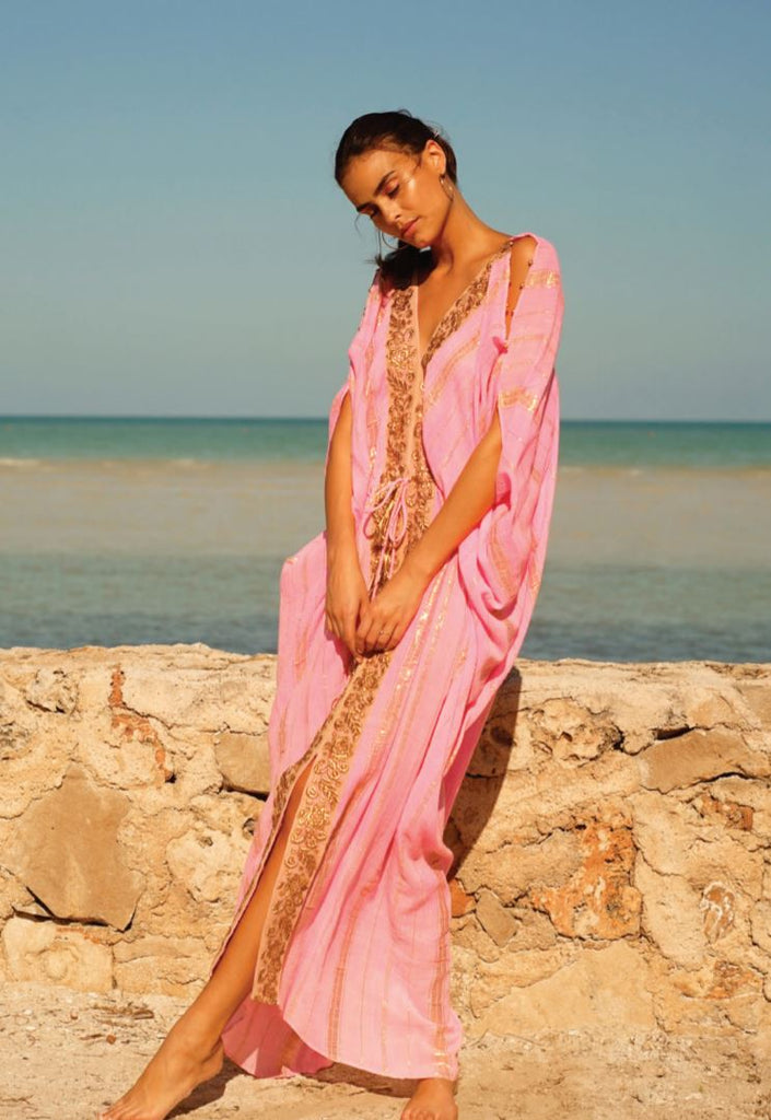 Miss June  Long Santorini Kaftan Dress In neon pink