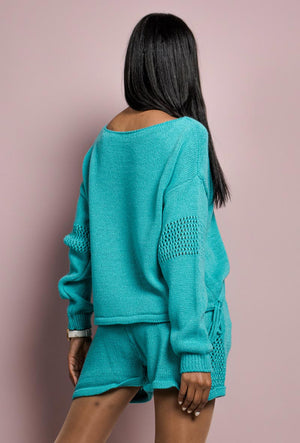 Knit Co-ord Set in Turquoise
