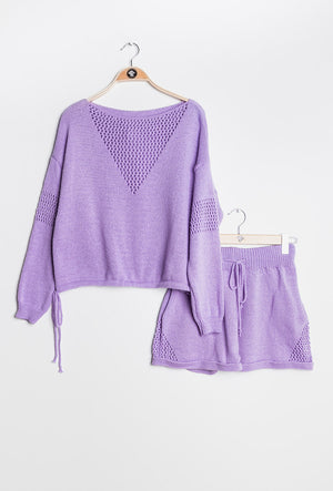 Knit Co-ord Set in Lilac