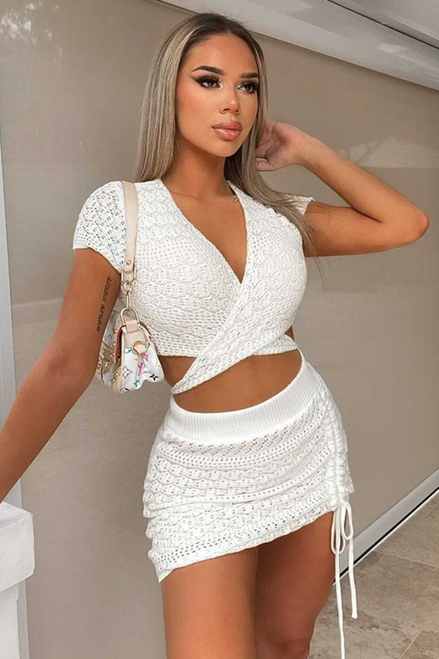 Knit Top and Skirt Co-ord Kayla in White