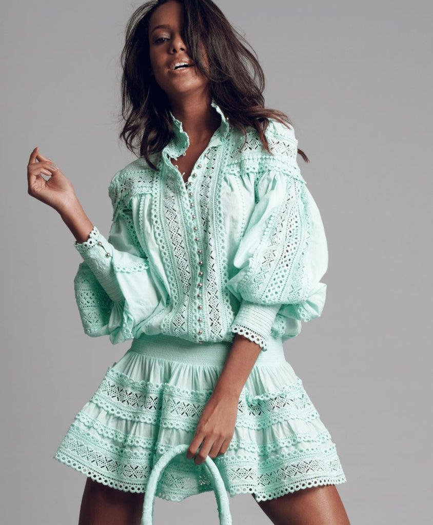 Moncur embroidered Dress in Sea foam