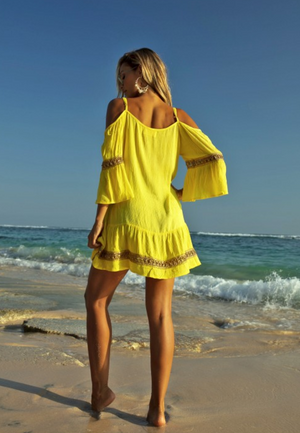 Cold shoulder Dress Shimmy in yellow