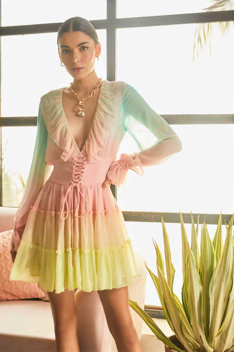 Rococo Sand Mini Dress in Ombre Rainbow Lurex