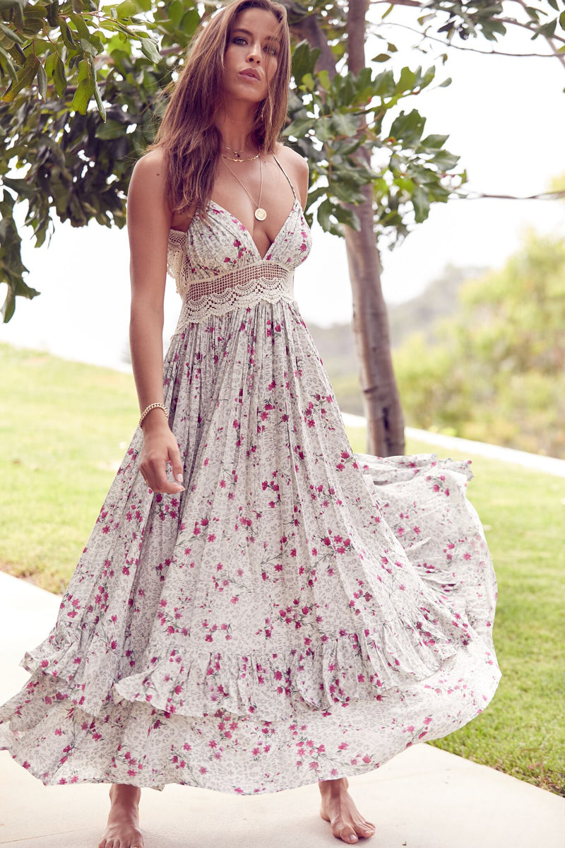 Halter Tie Backless Dress Sia In Ivy Print