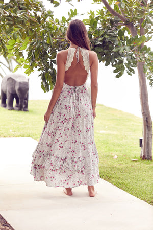 Jaase Backless Dress Sia In Ivy Print