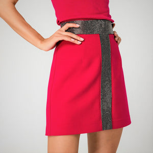 A line skirt in magenta with diamente