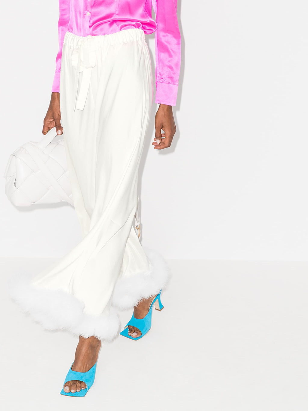Boudoir Feather Hem Trousers in White