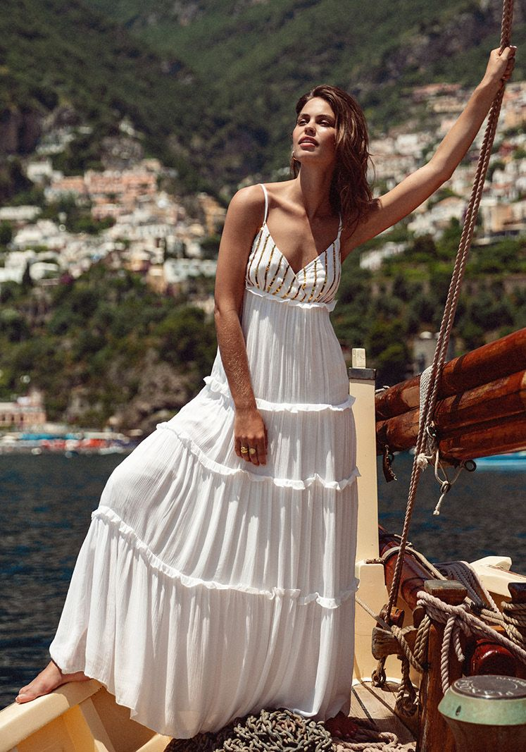 ULLA MAXI DRESS WHITE/GOLD