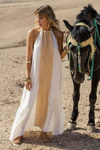 a7cd7144d Zahara Open Back Maxi Dress in white and beige – OutDazl
