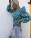 Maridruna Vince Puff Sleeves Jumper in JAde