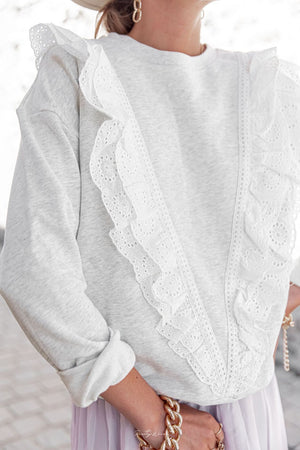 Cotton Sweatshirt with Broderie Anglais