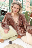 Boho Chic Top Blossom in Burgundy