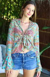 Tie Front Top Nirvana in Yoga Turquoise print