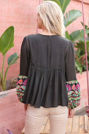 Miss June Embroidery Top Jagger in Khaki Multi