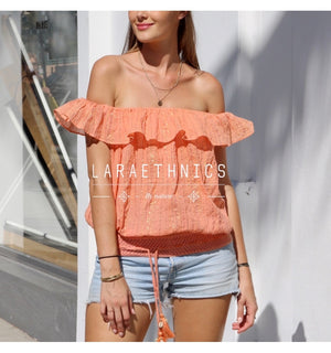 Off Shoulder Top Iris in Orange Lurex