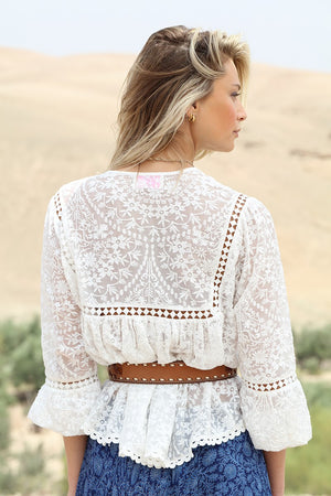 Romantic Boho top in White