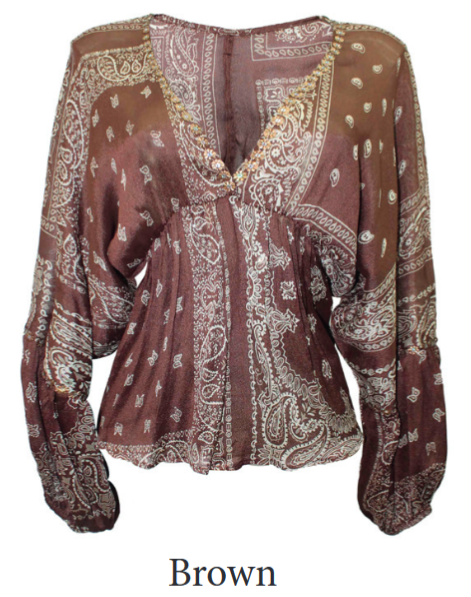 Miss June Top Blossom in Brown