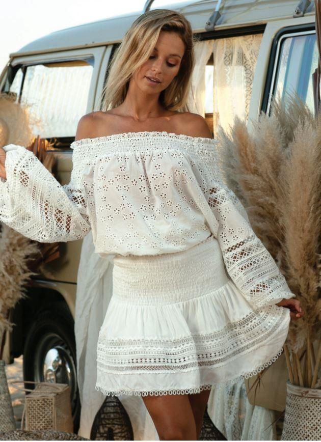 white Embroidery Off The Shoulder  Top | Miss June