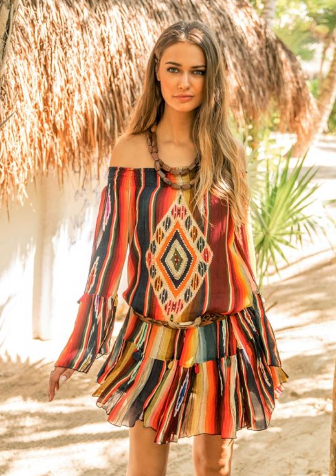 Tulum print Off the shoulder dress Playa
