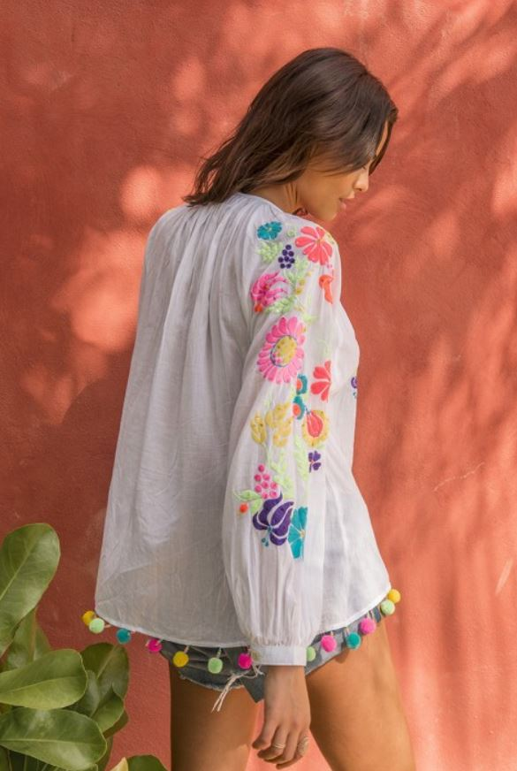 Neon Embroidery Top Flores