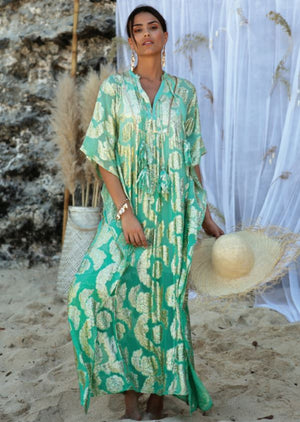 Miss June long Kaftan Bodhi in Turquoise| Miss June