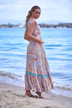 Maxi Dress Carmen in Sail away print