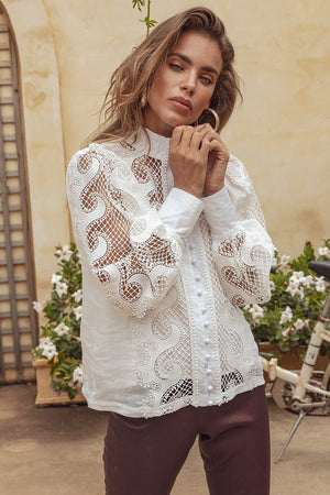 Victoriana Lace Blouse in White
