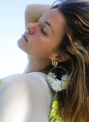 Flower Hoop Earrings in White Mono