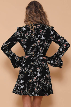 AZALEA WRAP DRESS - BLACK FLORAL