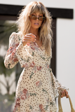 Dani Wrap Dress in Nude floral and polka dot print