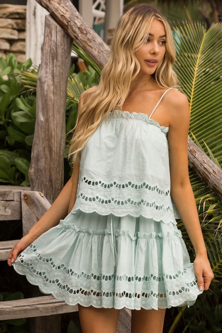 Mint Mini Scalloped Hem Skirt Alannah