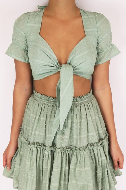 Pistachio front tie crop top Heaven Sent