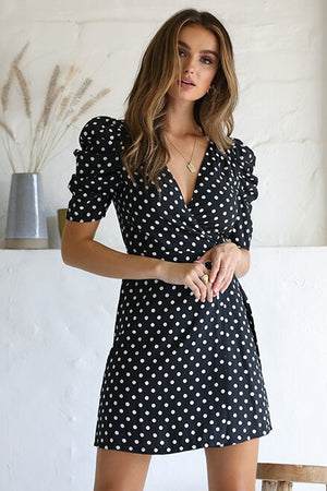Katy WRAP DRESS with statement sleeves