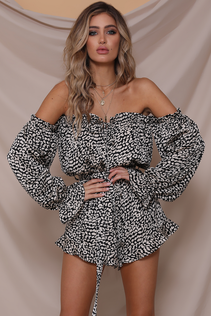 Kitty Playsuit in Black Leopard Print