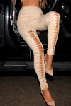 Rebound Suede lace up Leggings in Latte