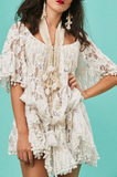 Antica Sartoria St Barths Lace Pearl Embellished Dress