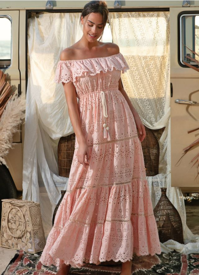French lace Maxi Dress Wisteria in Peach