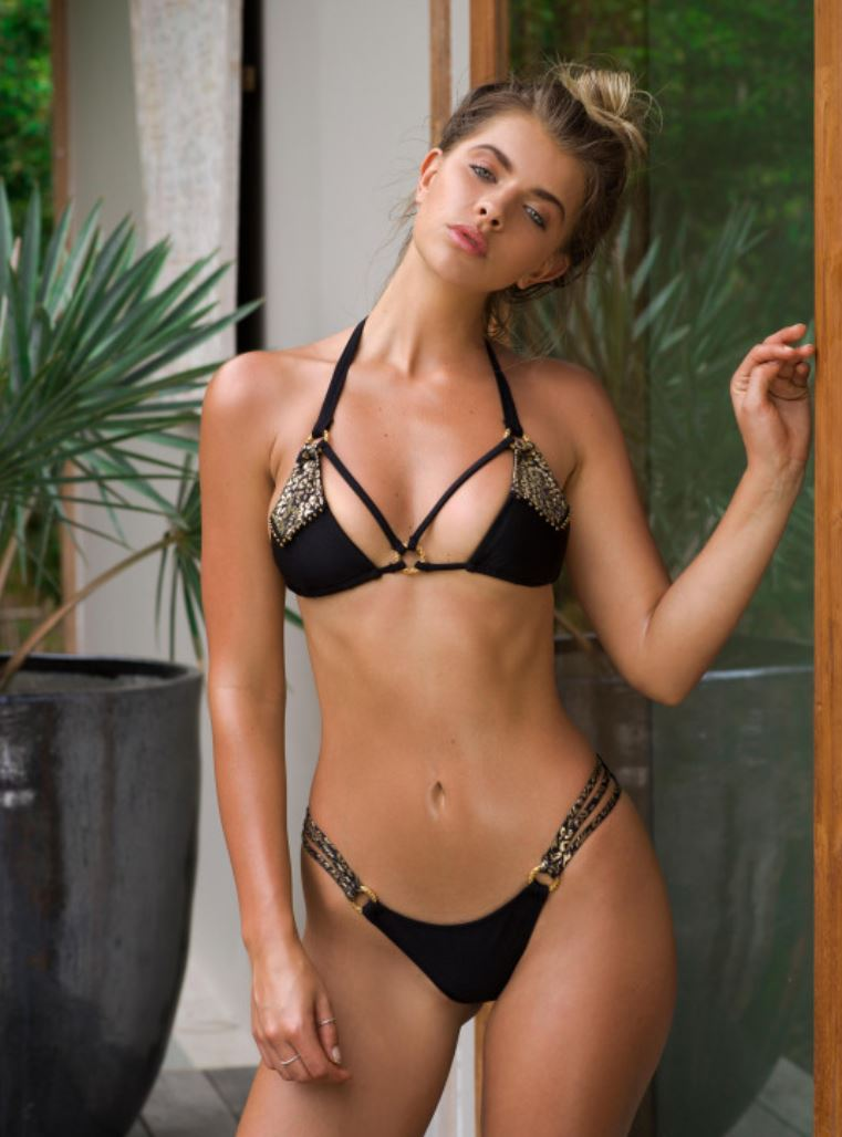 Black/Gold  Triangle Bikini Xena