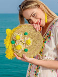 Daisy Round beaded straw Bag