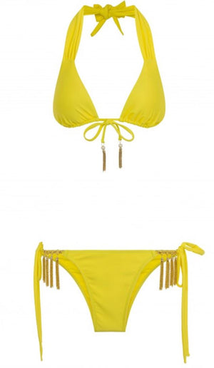 Banana Halter neck tie bikini set