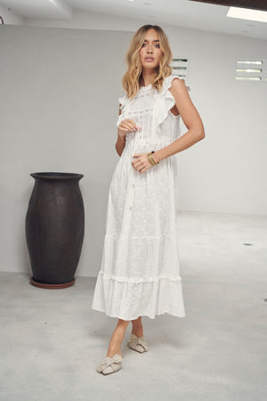 Jaase White Embroidered Maxi Dress Josephine