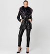 Snake skin fur lined coat with statement Faux fur Collar
