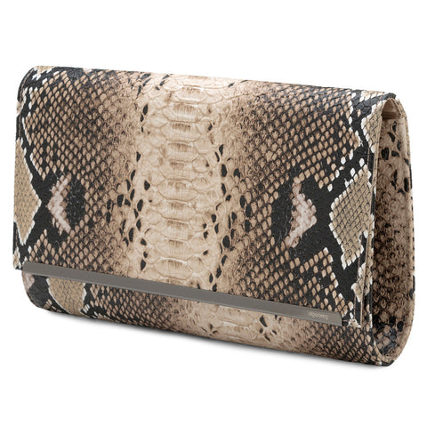 Olga Berg Lizard Oversized Clutch in Natural