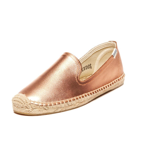 Soludos Leather Smoking Slipper in Rose Gold