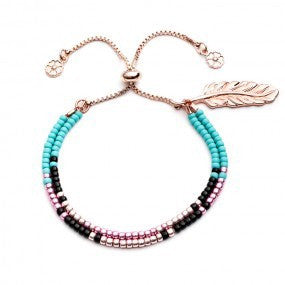 Azuni SF/B4 beaded rose gold bracelet pink/turquoise